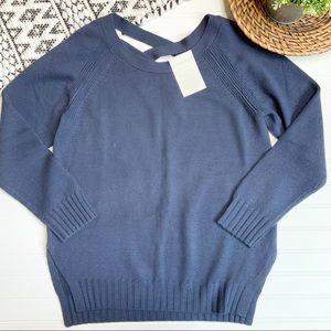 GARNET HILL Blue Criss Cross Back Merino Sweater